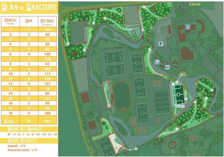Le parcours des Championnats de France 2016, dans un cadre vert et sportif – © 2016 Fous Allier DiscGolf Association