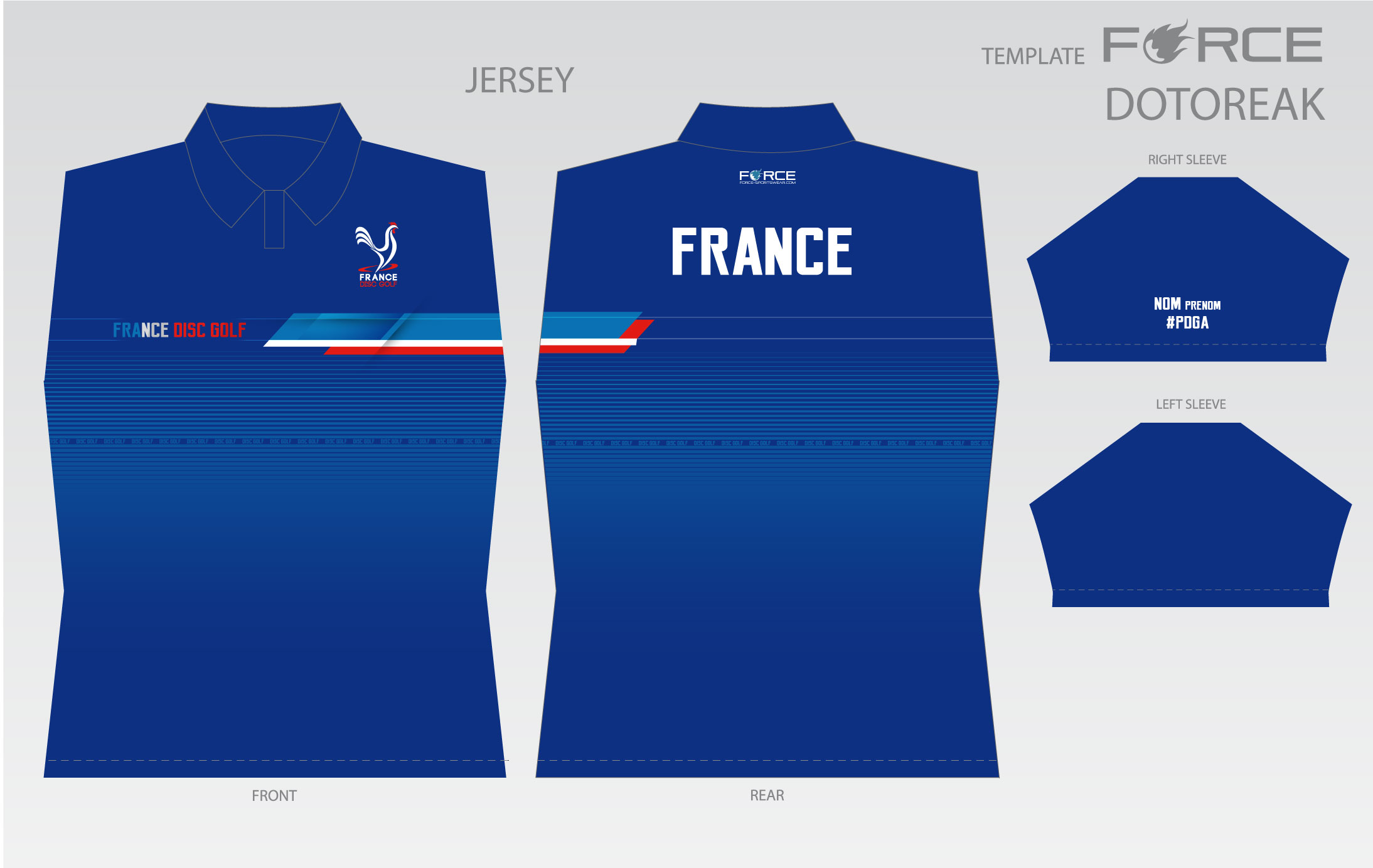 Le polo bleu France Disc Golf 2018